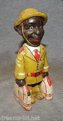 """BLACK Man Soldier WW 1 Style SOLDIER Cast Iron Bank 5 3/4"""" US ARMY w Bags VET"""