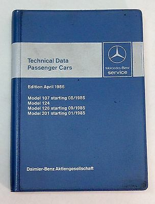 Vintage Mercedes Benz 1986 Service Technical Data Booklet W124 R107 W126 W201