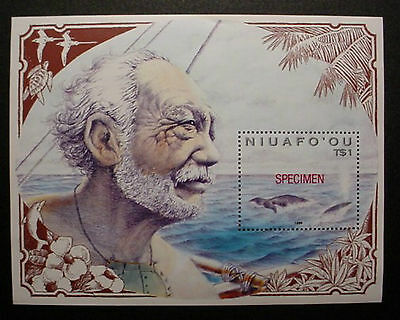 Tonga Niuafo'ou 1990: Polynesian Whaling M/s Overprinted With Specimen In Red