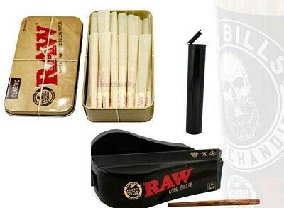 1 1/4 RAW Rolling Bundle 25 Pre Rolled Cones + Raw Cone Filler + 6 Dram Pop Top