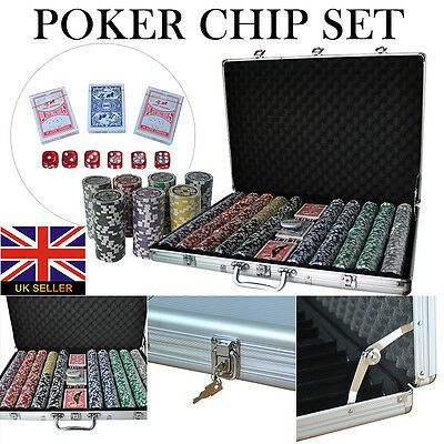1000 13.5g Chip Professional Poker Texas Hold'em Chips Game Set With Case