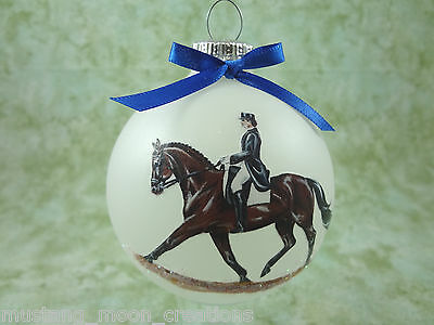 H003 Hand-made Christmas Ornament horse - bay dressage extended trot
