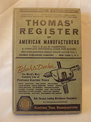 1950 Thomas Register of American Manufacturers Vol. III - 1000+ pages Tools Cars