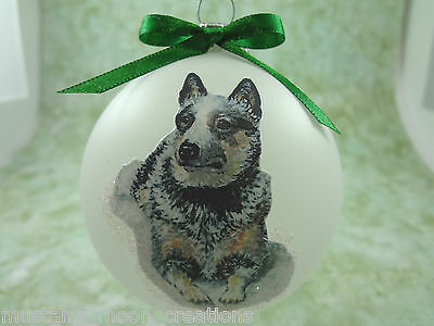 D042 Hand-made Christmas Ornament - Australian Cattle Dog Blue Heeler - sitting