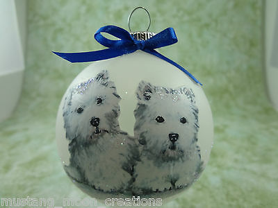 D018 Hand-made Christmas Ornament dog West Highland White Terrier westi - 2 sit