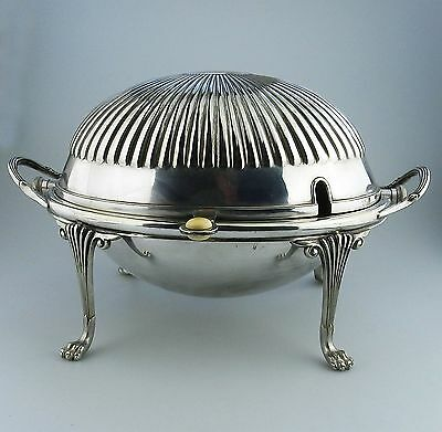 Antique Silver Plate : A fluted Roll-Top Breakfast Dish C.late 19th/early 20thC