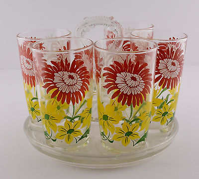 Five Floral Swanky Swigs With Clear Glass Caddy