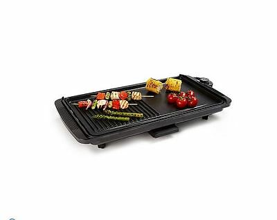 Electric Grill Plate Non-Stick 2000W BBQ Home Kitchen Cooking Eating Black Small