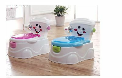 Potty Trainer Toddler Kids Toilet Boys Girls Blue Pink Seat Lid Tissue Roll Baby