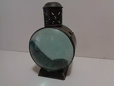 """OLD 8 """" Vintage Blue Magnify Glass Candle Power Light / Lantern FREE QUICK  SHIP"""