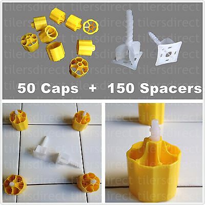 Tile Leveling System - 50 Caps+150 Spacers - Cross Spacer Flooring Lippage Tools