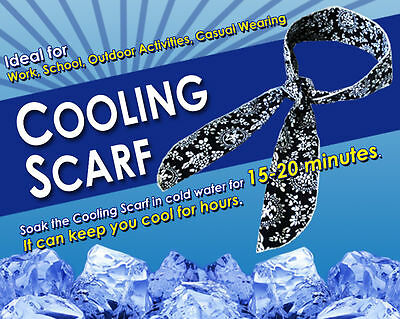 100 x NEW! NECK COOLING SCARF / WRAP - KEEP YOU COOL - BLUE 90cm x 5.5cm