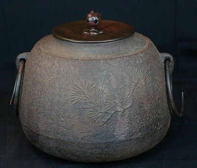 Antique Tea Ceremony Marugama Japanese iron kettle 1900 Japan craft