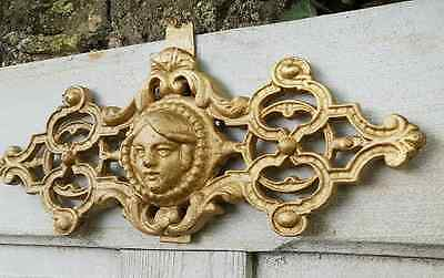Antique French Architectural Wrought Iron Gate Section Garniture Figurehead