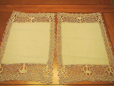 2 Antique Placemats Needle Lace Figural Men Women Cream Linen Table Doily Center