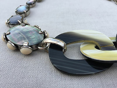 Philippe Ferrandis Imitation Horne, Mother-of-Pearl & Silver Necklace