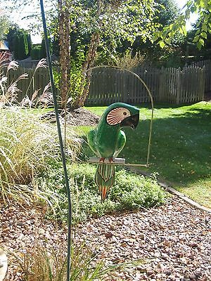"""BEAUTIFUL 22"""" Paper Mache PARROT - Hanging Decoration - Signed - Metal Perch"""