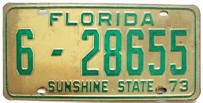 Florida 1973 Passenger Car License Plate, Palm Beach County, Can Be Registered