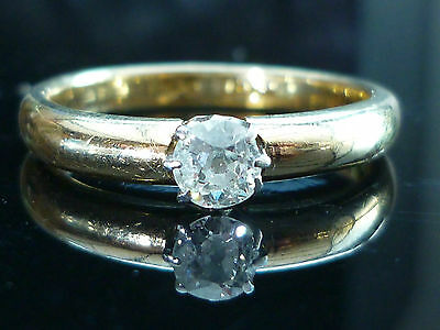 Stunning 18ct Yellow gold 0.25ct Old cut diamond solitaire ring Heavy 4.1g Nov13