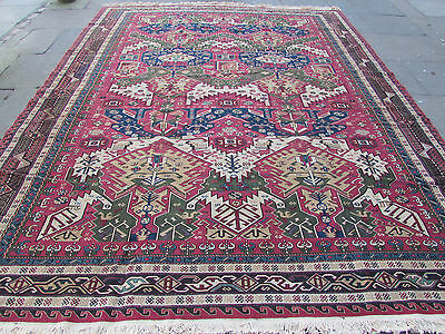 Old Traditional Hand Made Afghan Oriental Large Kilim Somak Red Wool 360x290cm