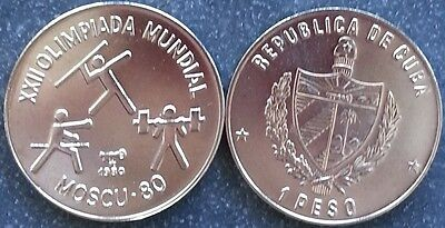 America 1 Peso 1980 Moscow Olympics Russia Olympic Games Three Athletes UNC