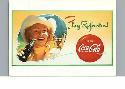 Postcard Coca Cola Play Refreshed Cowgirl Poster Advertisement From 1951 Chrome