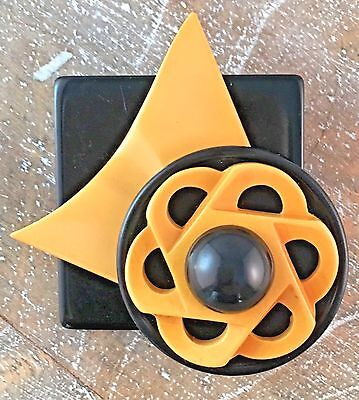 Butterscotch BAKELITE Black Lucite Retro Modernist Pin Brooch Vintage Jewelry