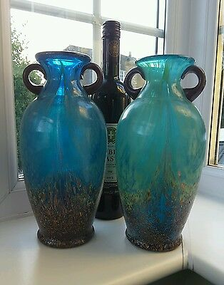 Pair Dale Tiffany American Art Glass Hand Blown Amphora Blue, green & Gold Vases