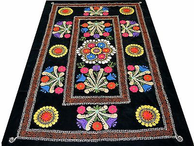 Uzbek Embroidery Old Hand Embroidered Velour Suzani Vintage Wall Hanging 166