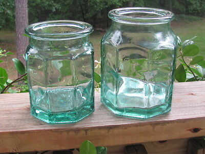Octagonal~Thick~Green Glass~Canisters~Jars~Pair
