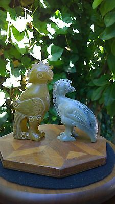 Group of Two (2) Hardstone Serpentine Phoenix Statues Ancient Style.