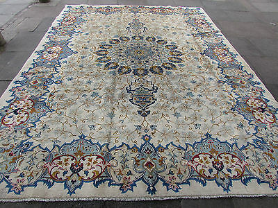 Fine Old Traditional Hand Made Persian Rugs Oriental Wool Cream Carpet 360x275cm
