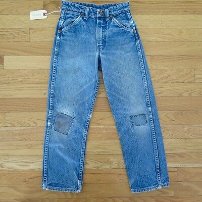 VINTAGE ORIGINAL DENIM JEANS PANTS WRANGLER BLUE BELL KIDS SIZE 8 1950's 1960's