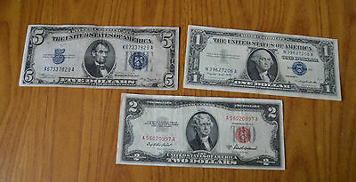 Lotto 3 Banconote 1 2 5  Dollari Dollar 1934 1953 1957 United States Of America