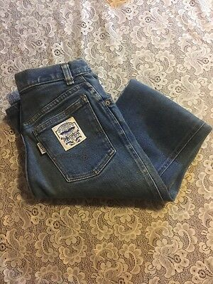 """Vintage 60's Youth Size Levi's BIG """"E"""" Blue Jeans w/ white and Blue Levi patch"""