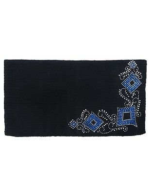 "Tough-1 Saddle Blanket Diamond Wool Silver Stud 34""x38"" Black 35-17898"