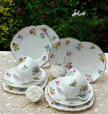 Royal Vale - Ditsy Flower Teaset 10 Pieces Vinatge China