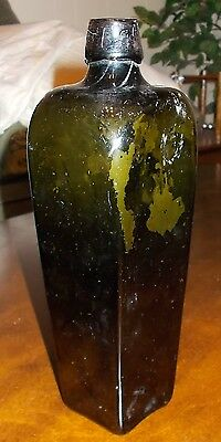 """Antique Olive Green Glass Taperred Gin / Whiskey Bottle 1800's  EX COND! 10"""""""