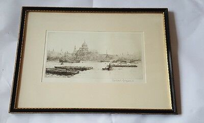 Rowland Langmaid St Paul's From Blackfriars - Signed and Framed  Etching