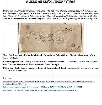 Revolutionary War:circa 1780: On Public Service Mail To Colonel Wall,bucks Co Pa