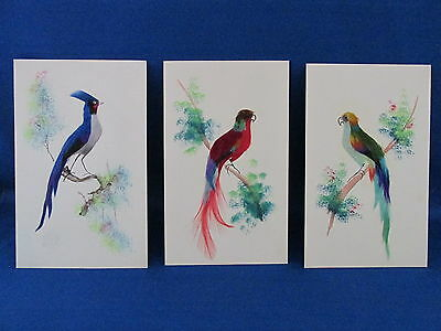 Lot of Three Postcard-size Parrot & Bird Art Cards made with Real Feathers