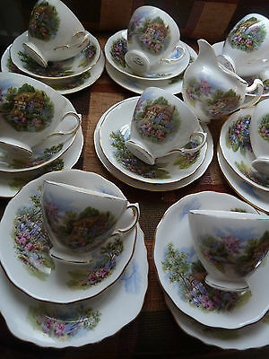 "Vintage ROYAL VALE china ""COTTAGE GARDEN"" 8 Tea cups, saucers, plates, milk jug"