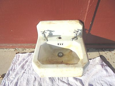 vintage cast iron bathroom sink with faucets 12-12-47E 4 white