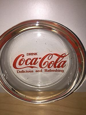 "Coca Cola Glass Ash Tray 4""~""drink Coca Cola"" Unused & Rare~Bright & Vivid Color"