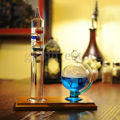 12 Inch Galileo Thermometer Glass Globes Bottle Barometer Weather Forecast Set