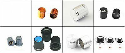 Aluminium Plastic Knobs for Linear(Mono)Stereo Potentiometers Switches Encod New