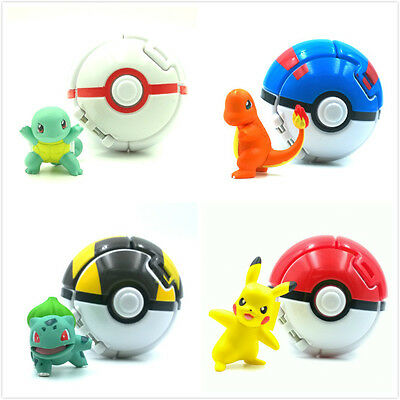 5CM POKEMON GO Figure Toys 8CM pokeball pikachu Bulbasaur Charmande Squirtle