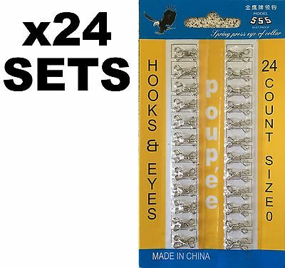 24 x Hooks & Eyes Size 0 Silver Colour - Fasteners for Bras, Skirts, Tops, Pants