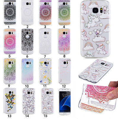Shockproof Rubber Clear Painted Pattern TPU Silicone Slim Case Cover For Samsung