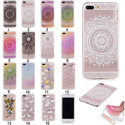 Shockproof Rubber Pattern Soft TPU Silicone Clear Painted Case Cover For Phone